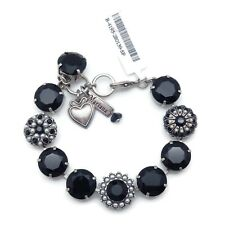 Mariana 280139 Black Swarovski Crystal with Pearls Silver Plated Bracelet NWT