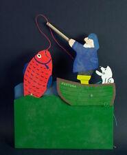 Museales Holzspielzeug - Display Angler - G.Bri - Gerhard Brinkmann - Cartoonist