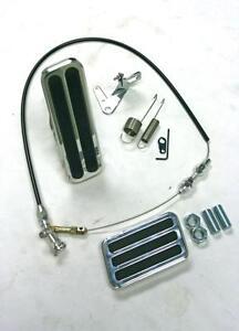 "Aluminum Floor Mount Gas Pedal Brake Pad + 36"" Black Throttle Cable Bracket Kit"