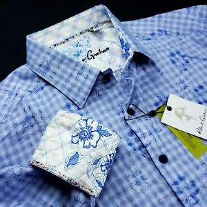 ROBERT GRAHAM Exclusive Embroidered Floral Geometric Print Paisley Blue Shirt