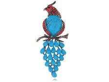 Alloy Crystal Rhinestone Fashion Pin Brooch Rare Large Bird Faux Turquoise Bead
