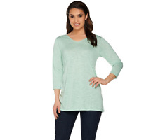 Linea By Louis Dell'Olio 3/4 Sleeve Novelty Knit Top Size S Seafoam Color