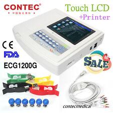 EC CONTEC Digital Automatico ECG a 12 canali Elettrocardiografo, Software, Touch