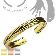 Adjustable Rhodium Plated Thin Braid Mid-Ring or Toe Ring (Choose Color)