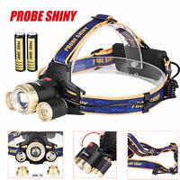 Zoom 15000LM Headlamp CREE XM-L 3x T6 LED Headlight 18650 Head Light Battery lot