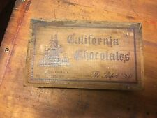 Vintage 1940s 1 Lb California Chocolates Box Made from Cedar Timber Wood