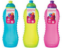 3 Sistema 460ml Drink Water Bottle Aqua Blue Lime Green Pink School Picnic Lunch