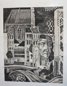 Vintage surrealist cityscape portrait metaphysical print