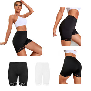 WOMENS LACE TRIM CYCLING SHORTS LADIES ACTIVE SCALLOP HOT PANTS GYM TIGHTS PLUS