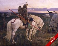 VIKING STYLE KNIGHT IN ARMOR ON HORSE WITH SPEAR PAINTING ART REAL CANVASPRINT
