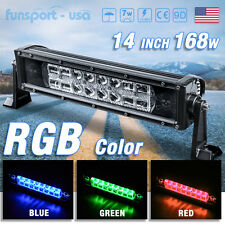 14inch 168W RGB LED Light Bar Offroad Truck SUV ATV Strobe Driving + Wiring Kit