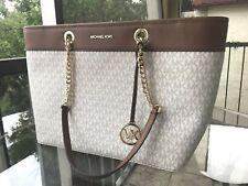 Michael Kors Women Large Leather Shoulder Tote Purse Bag Handbag Vanilla Brown