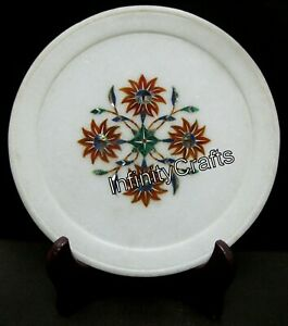8 Inch Marble Inlay Plate Floral Design Inlaid Elegant Look Corporate Gift Plate