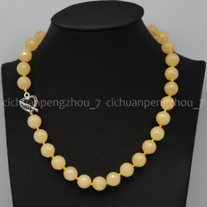 Natural 12mm Faceted Light Yellow Topaz Round Gemstone Beads Necklace 16-36''