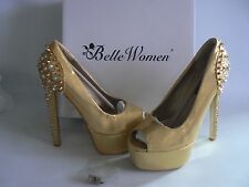 Belle Women Gold Studded Platform Heel Shoes Peep Toe Fab UK 3 - EU 36 NEW BOXED