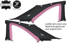 BLACK & PINK 2X B C PILLAR LEATHER COVER FITS NISSAN SKYLINE GTS GTR R33 93-98