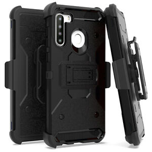 For Samsung Galaxy A21 - Hard Hybrid Armor Black Holster Belt Clip Case Cover