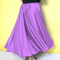 MEDIUM PURPLE Satin Full Circle Midi Skirt Belly Dance Club GYPSY Tribal Costume