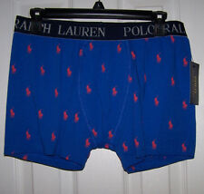RALPH LAUREN POLO BLUE ORANGE PONY'S KNIT BOXER BRIEF SZ L COTTON BLEND NWT