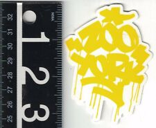 ZOO YORK SKATE STICKER Zoo York Yellow Graffiti 2.5 in. x 3.25 in Decal
