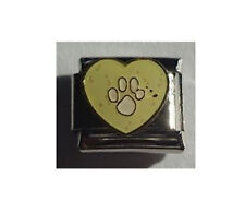 9mm Classic Size Italian Charm E22  Yellow Paw Cat Dog Paw Print