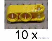 LEGO Technik - 10 Verbinder 1x3 gelb, 2 x Achsloch Kreuzloch / 42003 NEUWARE