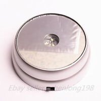 New 3 LED White Light Round Display Stand Base Crystal Ball Paperweight Silver