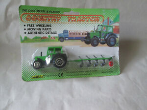 Welly Green Farm Tractor and Bottom Plow Implement Set #9130