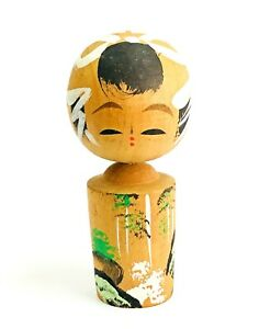 Japanese Kokeshi Dolls Vintage Wooden Folk Art Carving Hand Painted Landscape K5