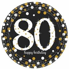 8 Gold Celebration Age 80 Paper Plates Gold Black 80th Birthday Party Tableware