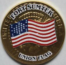 JFK KENNEDY HALF DOLLAR CIVIL WAR - FORT SUMTER UNION FLAG COLORIZED COIN UNC