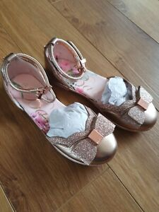 New Girls Ted Baker Bow Shoes Flats Trainers Floral Size UK 11 Sparkly