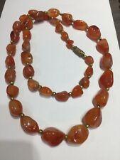 "Vintage agate carnelian bead  necklace 26"""