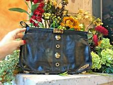 Jimmy Choo Black Leather Studded & Grommet Embroidered Zulu Clutch Bag