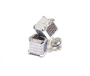14k White Gold 3ct White Blue & Red Princess Cut Diamond 3D Square Cube Earrings