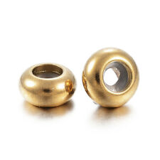 10pcs Stainless Steel Slider Spacer Loose Bead Stopper 9mm Round Bracelet Gold