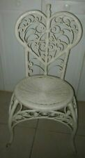 Vintage Wicker Peacock Side Chair White Shabby Chic
