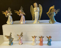 Vintage Hard Plastic Musical Christmas Angels ~ Lot of 9 ~ Various Sizes