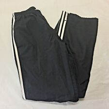 ADIDAS 3 Stripe Training Fitness Pants Women's US Size M Black LINED Zip Ankle