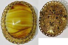 broche vintage color oro déco encaje cabujón piedra de cristal mármol 4544