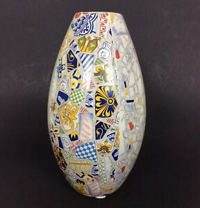 Gaudi Vase 9.5 Inch Faux Mosaic Ceramic Multicolor Crate & Barrel 360-450