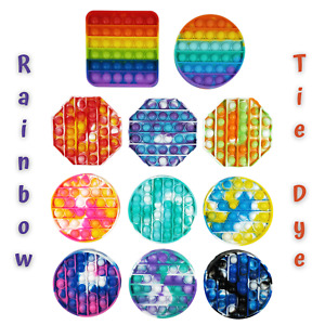 Pop It Fidget Toy Game Its Push Bubble Rainbow Tie Dye Square Round Octagon New
