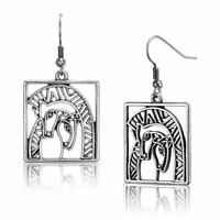 Embracing Horses Silver Laurel Burch Drop Dangling Earrings