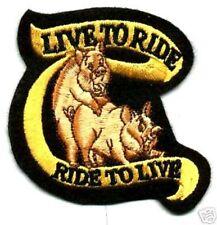 """LIVE TO RIDE HOG BIKER RIDE TO LIVE HOG JACKET 3"""" BIKER FUNNY JOKE RIDE PATCH"""