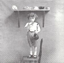 2 Serviettes en papier Enfant Cuisine Sagen Vintage Paper Napkins Child