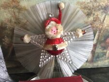 Antique Vintage Christmas Tree Topper Of Santa In A Star with Filament & Mohair