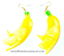 Big Yollow Peeled Banana Fruit Drop Dangle Earrings Food Funky Fashion Jewelry
