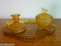 Gorgeous Sowerby 'Butterfly' Vanity Set Three Pieces,Pretty Amber Frosted Glass