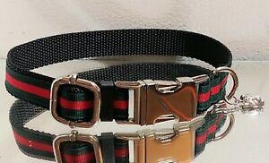 La Gucci Green Red Stripe Silver Metal Buckle Collar.13-15 in. Necks🐯 🐶
