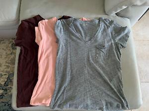 Madewell Women's Heathered V Neck Cotton Blend T-Shirt Size M